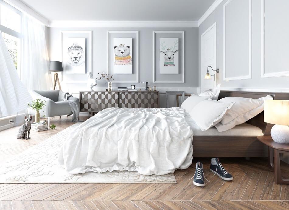 Скандинавский стиль спальня − Цвет в спальне − Спальня в скандинавском стиле