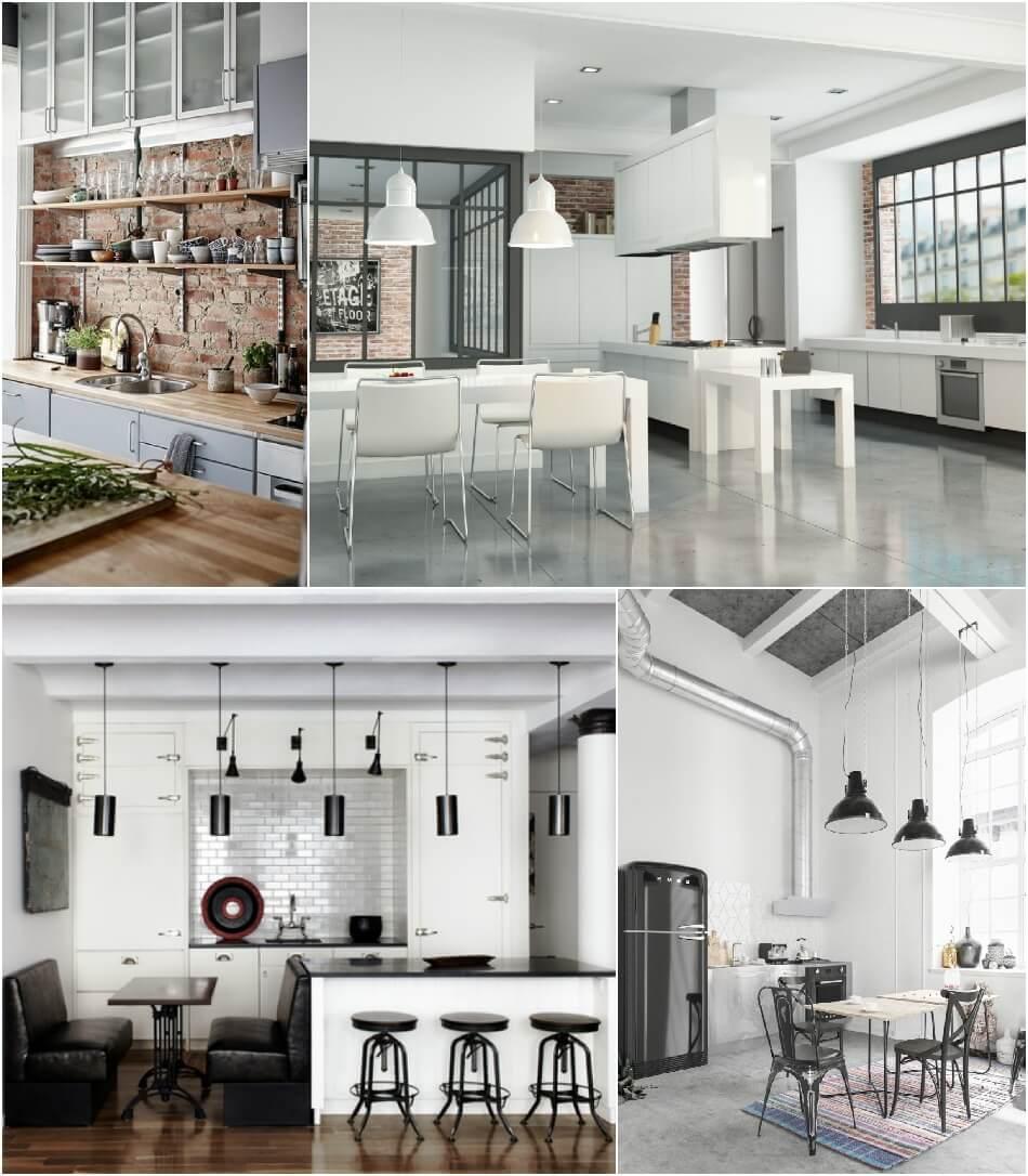 Белая Кухня - Белая Кухня Лофт - Дизайн Интерьера Белой Кухни