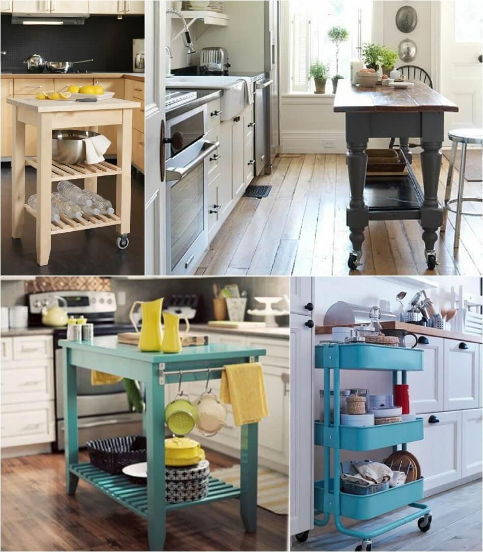 Маленькая Кухня - Передвижной стол - Дизайн Маленькой Кухни
